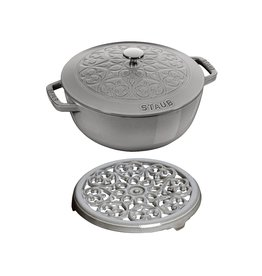 Henckel Dutch oven 3.75 qt STAUB Grey Lily + trivet set