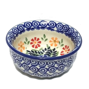 "Polish Pottery Bowl 4.5"" SPRING MORNING"