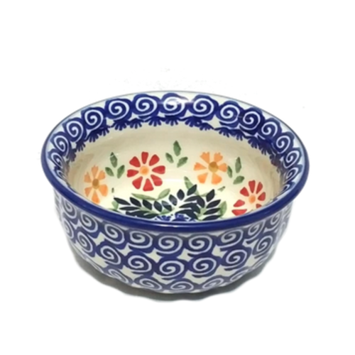 "Polish Pottery Bowl 4.5"" SPRING MORNING"