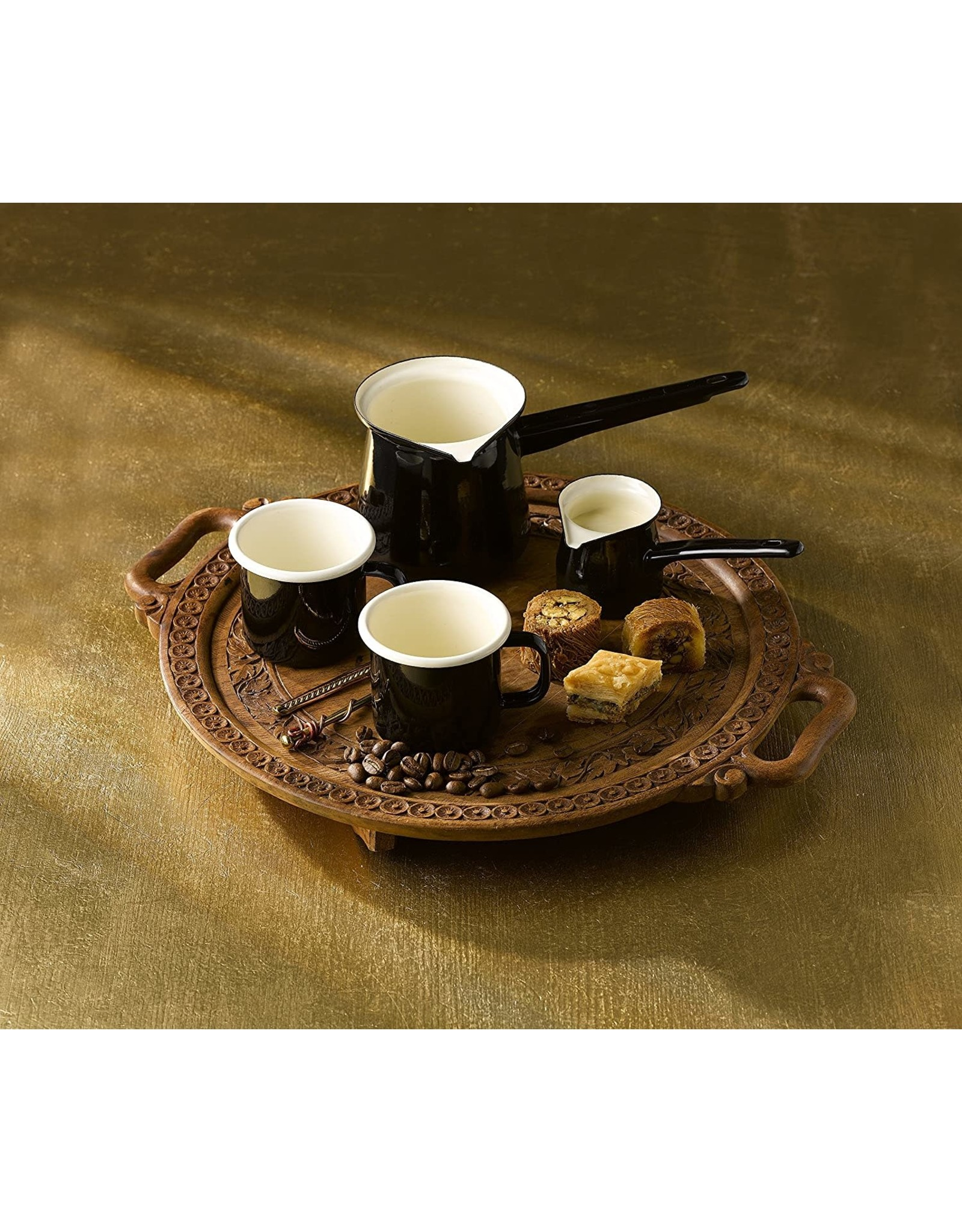 Port-Style BLACK ENAMEL TURKISH COFFEE POT 400 ML.