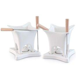 Swissmar Harmony 10 Piece Dual Fondue and Butter Warmer Set. White .