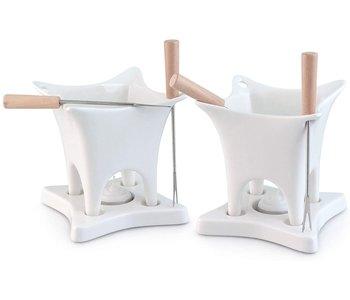 Harmony 10 Piece Dual Fondue and Butter Warmer Set. White .