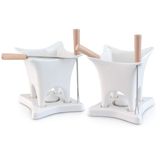 Swissmar Harmony 10 Piece Dual Fondue and Butter Warmer Set. White .