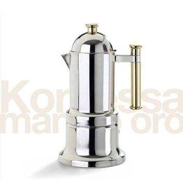 Adamo Import KONTESSA S/S 6 cups GOLD handle  Stovetop Espresso Maker