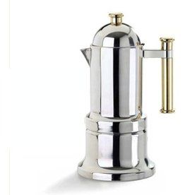 Adamo Import KONTESSA S/S 12 cups GOLD handle  Stovetop Espresso Maker