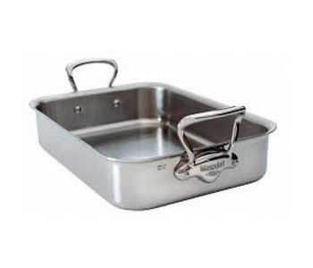 MAUVIEL M'COOK ROASTING PAN 40cm X 30cm  WITH CAST Stainless Steel HANDLE