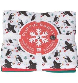 Danica Tea Towel Flour Sack set of 3 PUFFIN PARTY