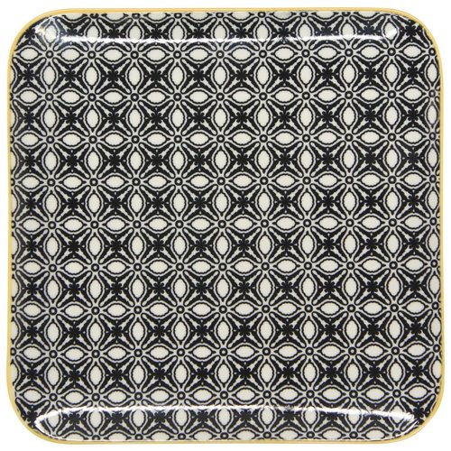 Now Designs Square Plate Black/Yellow ( 5.5 inches)