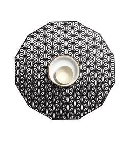 "Chilewich Placemat Kaleidiscope Pressed BLACK 14"" Round"