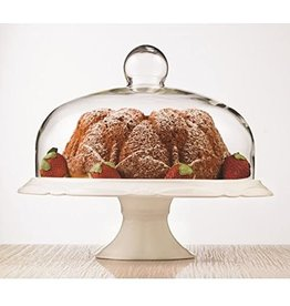 ICM Cake plate pedestal with dome BIANCO