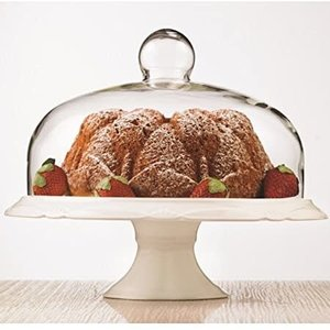 Carol's Nicetys Cake plate pedestal with dome BIANCO