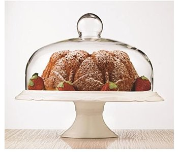 Cake plate pedestal with dome BIANCO