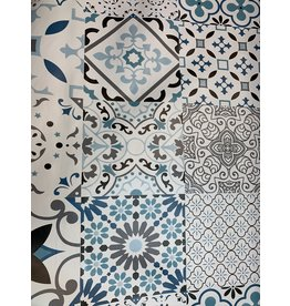 Carol's Nicetys Italian Vinyl Tablecloth Blue Geometric