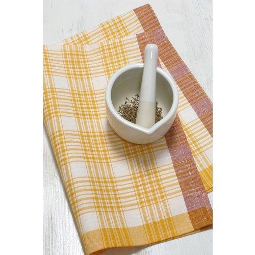 Linenway Tea Towel Yellow Plaid Linen/Cotton Blend