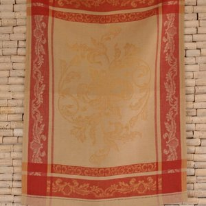 Linenway Tea towel VERSAILLES white gold and red