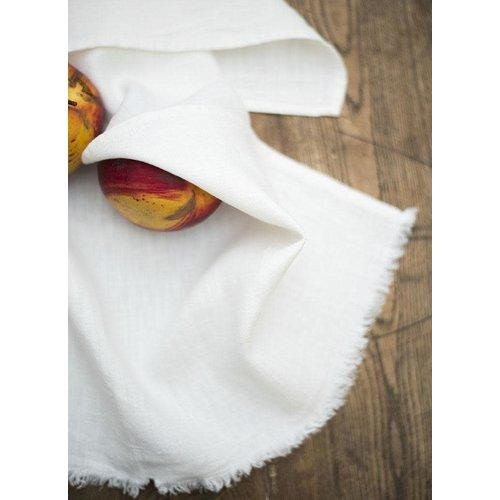 "Linenway Tea Towel BILBAO Rustic White/Ivory 100% Linen 20"" x 28"""