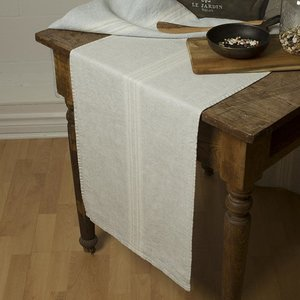 """Linenway Runner MAISON GREY with white stripes 17"""" x 67"""""""