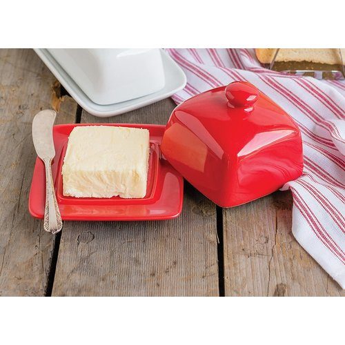Danica Butter Dish Square RED
