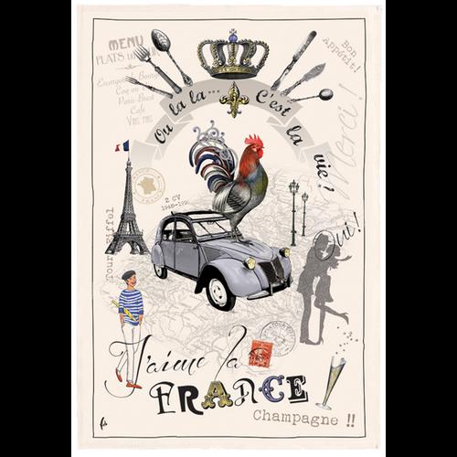 42FDistribution TEA TOWEL I Love France
