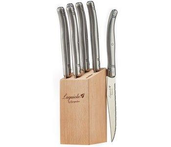 Laguiole Steak knife set in block Stainless Steel
