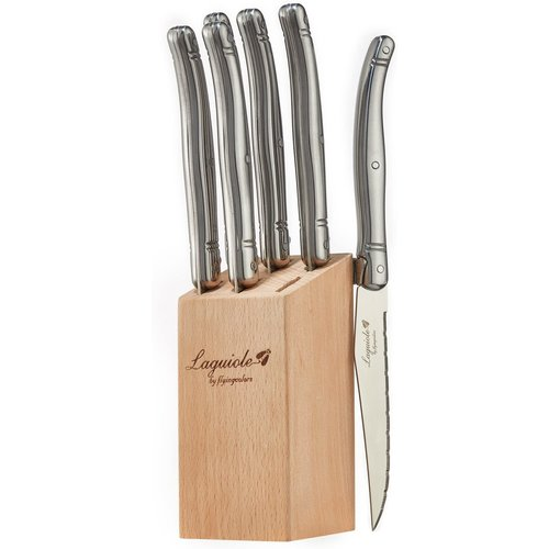Laguiole Laguiole Steak knife set in block Stainless Steel