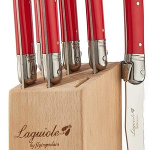 Laguiole Laguiole Steak knife set in block New Red