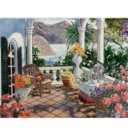 "Benaya Handcrafted Art Decor TILE - VIEW FROM THE TERRACE - 11"" x 14"""