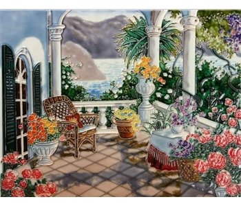 """TILE - VIEW FROM THE TERRACE - 11"""" x 14"""""""