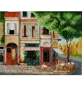 "Benaya Handcrafted Art Decor TILE - CORNER BISTRO - 11"" x 14"""