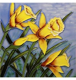 "Benaya Handcrafted Art Decor TILE - DAFFODIL BLOOM - 8"" x 8"""