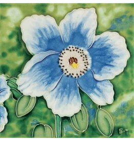 "Benaya Handcrafted Art Decor TILE - BLUE POPPY - 6"" x 6"""