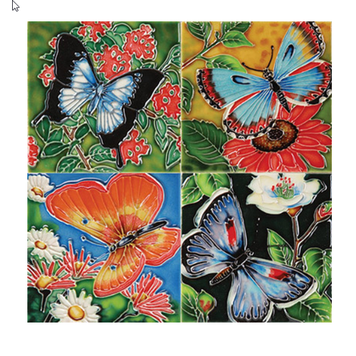 Benaya Handcrafted Art Decor Coasters -BUTTERFLY BEAUTY/ Set of 4
