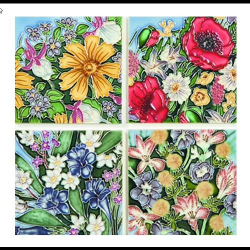 Benaya Handcrafted Art Decor Coasters -BACKYARD GARDEN/ Set of 4