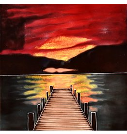 "Benaya Handcrafted Art Decor TILE - SUNSET DOCK - 8"" x 8"""