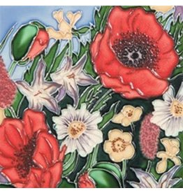 "Benaya Handcrafted Art Decor TILE - POPPY GARDEN -  6"" x 6"""