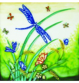 "Benaya Handcrafted Art Decor TILE - DRAGONFLY - 8"" x 8"""