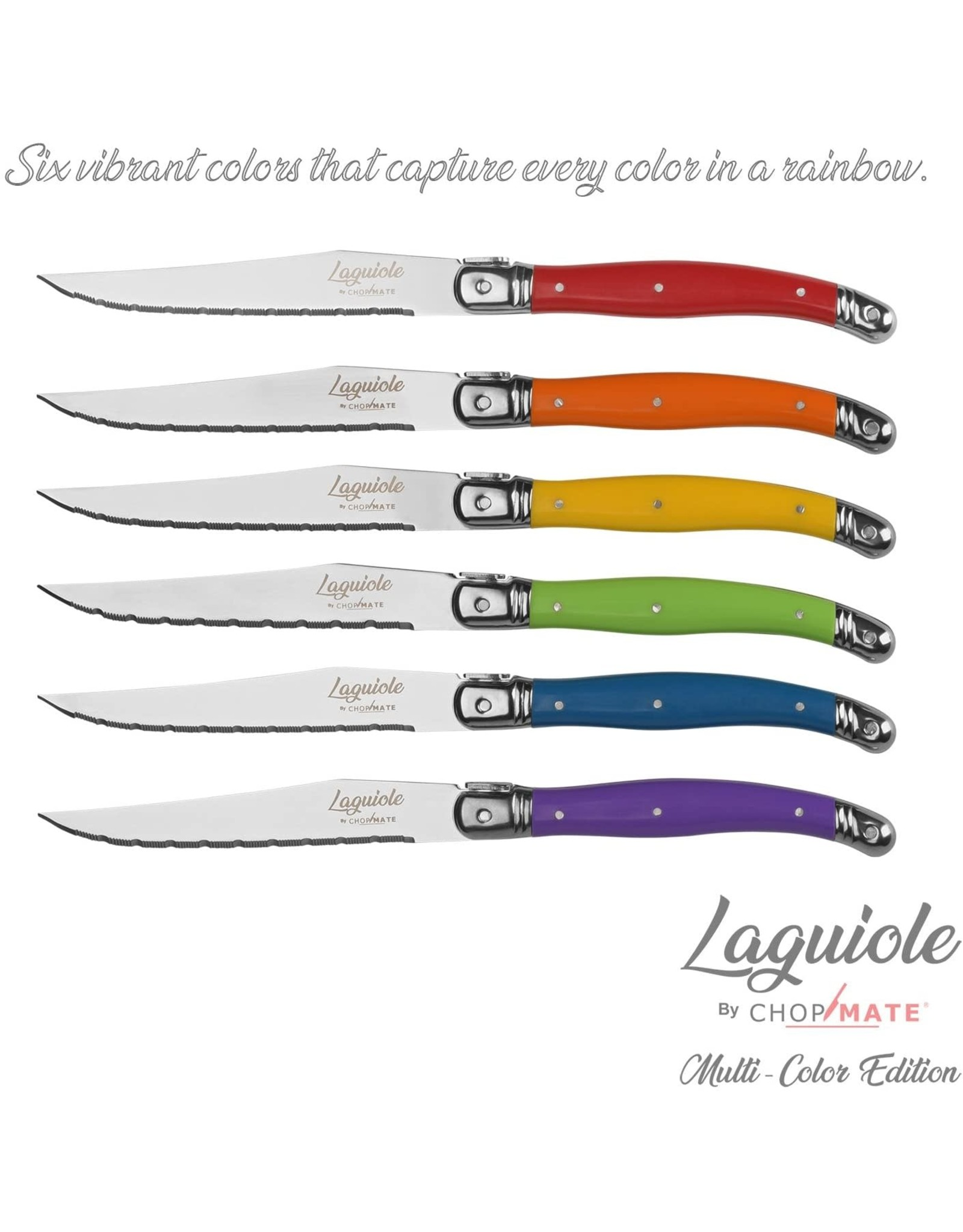 AccessArt Laguiole Steak knife set in block Mixed Light Colors