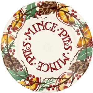 "Emma Bridgewater EMMA Holly wreath mince pies 8 1/2"" plate"