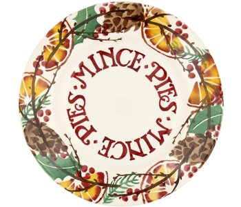 """EMMA Holly wreath mince pies 8 1/2"""" plate"""