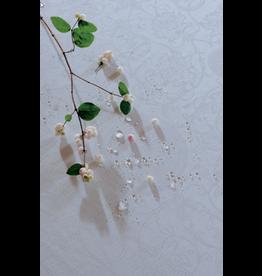 """Garnier Thiebaut TABLECLOTH Appoline White Round 93"""" (GREEN SWEET)"""