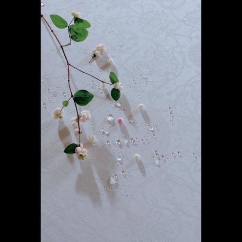 """Garnier Thiebaut TABLECLOTH Apolline White Round 93"""" (GREEN SWEET)"""