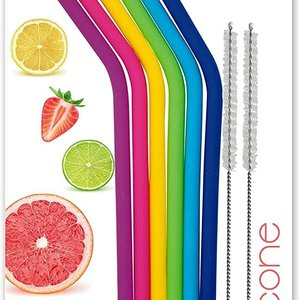 Danesco Reusable SILICONE Straws/ Set of 6 with 2 Cleaning Brushes