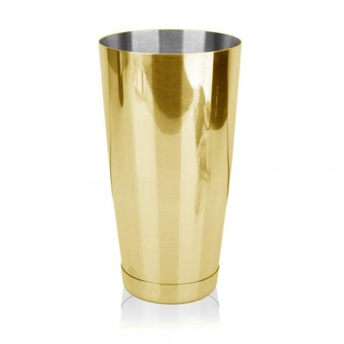 HOSPITALITY CONSUMER PRODUCTS COCKTAIL BOSTON WEIGHTED 28oz - GOLD with Glass Patterned Shaker
