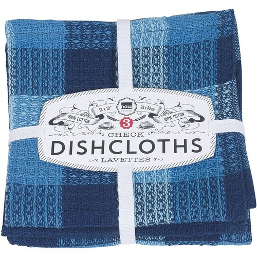 Now Designs Dishcloth Check Indigo SET OF 3