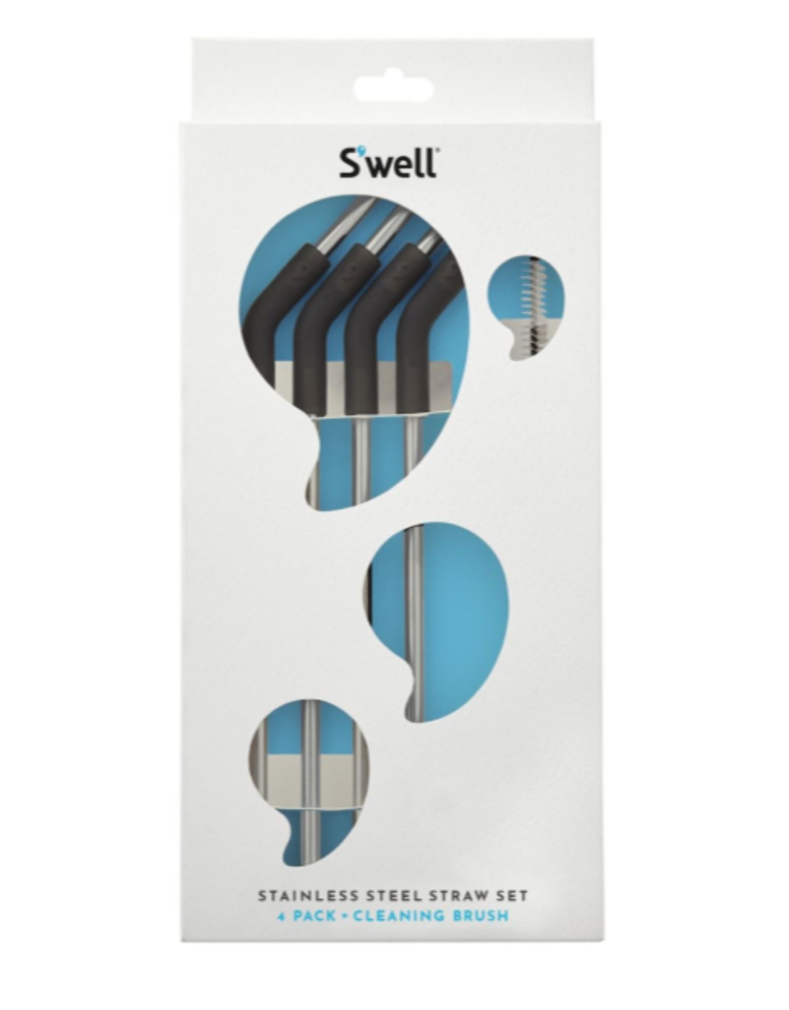 SWELL SWELL S/S STRAW/SET OF 4 with Cleaning Brush