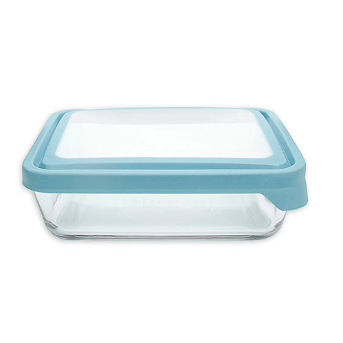 Fox Run True Seal Glass Storage Container Rectangular/Blue Lid - 11 cup capacity