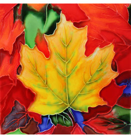 "Benaya Handcrafted Art Decor TRIVET - COLOURFUL MAPLE LEAVES - 6"" x 6"""