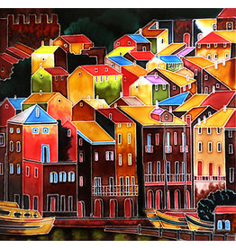 "Benaya Handcrafted Art Decor TILE - COLOURFUL BUILDINGS - 12"" X 12"""