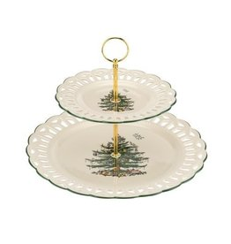 Royal Selangor Portmeirion XTREE 2-Tier Pierced Cake Stand 12""