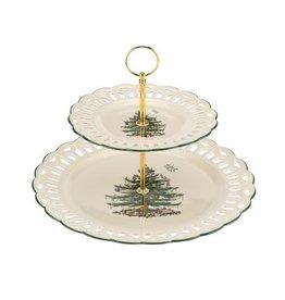 "Spode CHRISTMAS TREE 2-Tier Pierced Cake Stand 12"""